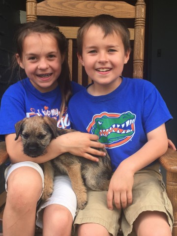 "Amelia and Ben so happy with Mr. Blue -""Cosmo"" now lives in Orlando, FL"