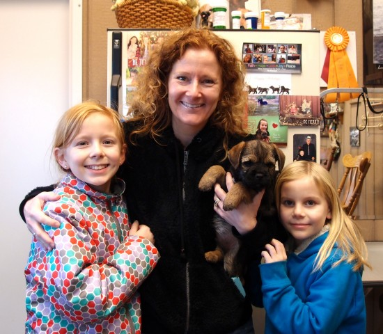 Colleen with daughters Brenna and Molly taking Wallace home to meet the rest of the family.