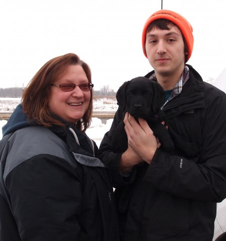 "AnneMarie with son, Blake heading home to Michigan with their lovely Miss Purple- ""Olea Raven"""