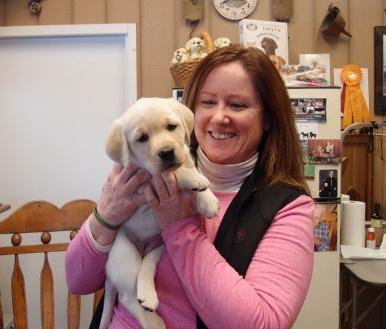 "Peggy with ""Breezy"". Peg is the owner of Benelli, the Sire of this litter."