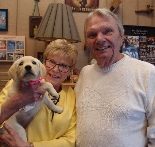 "RICK AND DIANE FINALLY GETTING THEIR NEW PUPPY. ""SOFIE"" (MISS TEAL)"