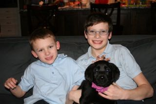 "Vaughn and Zac with their new puppy ""Zoe"""