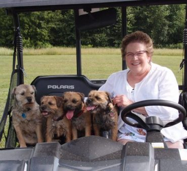 Becky with the pups on the go!